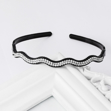 Shiny Rhinestone Wave Hairbands  Synthetic Leather Black Headbands Fashion Headwear for Women Girls Hair Accessories