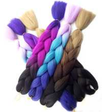 "Esprit Beauty High Temperature Fiber Synthetic Hair Extensions 24"" 60CM 1Pcs Ombre Braiding Hair Bulk Jumbo Braids Crochet Style(China)"