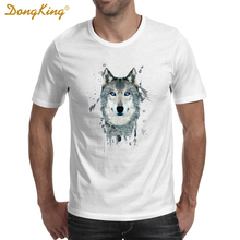 Animal Wolf Fancy Cool 3D Print T-shirts Cotton Women Men White Tee Gifts for Him Her Regular Slim Fit for ladies(China)