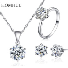 HOMHUL 2017 Silver Color Fashion Jewelry Sets Cubic Zircon Statement Necklace & Earrings Rings Wedding Jewelry for Women Gift(China)