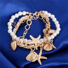 H:HYDE Summer Style Fashion Gold imitation Pearl Shell Starfish Sea Star Beach Bracelet Chain Beach Womens Jewelry