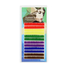 C/D curl Rainbow Colorful Eyelashes 6 Colors Eyelash Extension 8mm 10mm 12mm Inidividaul False Eyelashes