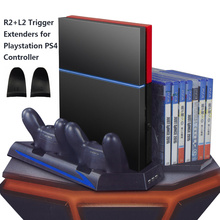 For PS4 Vertical Stand&Cooling Fan&Game Holder Dual Charging Station with USB HUB&DiscStorage Manager&Dustproof Kit