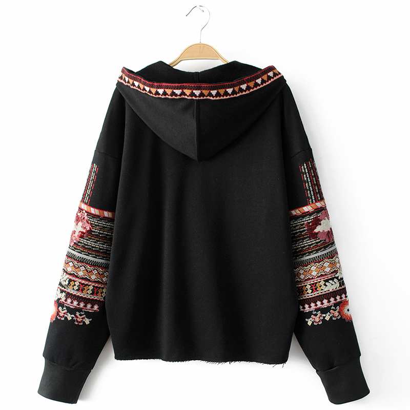 ShejoinSheenjoy Hooded Long Sleeve Loose Hoodies Women Fashion Black Vintage Floral Geometric Embroidery Sweatshirt Pullovers (22)