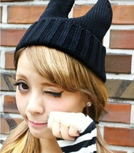 free shipping NEW Handmade Knited hat Wool hat Yarn devil cap Japan's style shining cap monster bunny cap