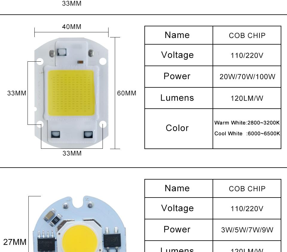 led cob lamp bulb white warm white 220v 110V with smart ic driver (4)