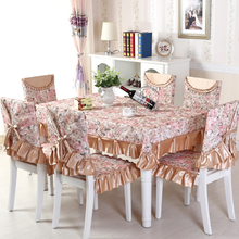 Rose Table Cloth Cotton Lace Tablecloth Set,13 Pcs/Set Chair Mats Chair Covers and Tablecloths,Tablecloths for Dining Party