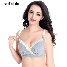 YUFEIDA Cotton Women's Free Breast Feeding Bra Maternity Nursing Bralette Push Up Prevent Sagging Bra For Pregnant Women Clothes(China)