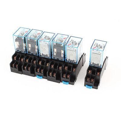 6 x AC 220V-240V Coil 8Pin DPDT 35mm DIN Rail Mount General Power Relay + Socket<br><br>Aliexpress