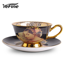 YeFine Ceramics Advanced Gift British Tea Cup Set Oil Painting Design Ceramic Coffee Cups Bone China Tea Cup Famous Brand Name(China)