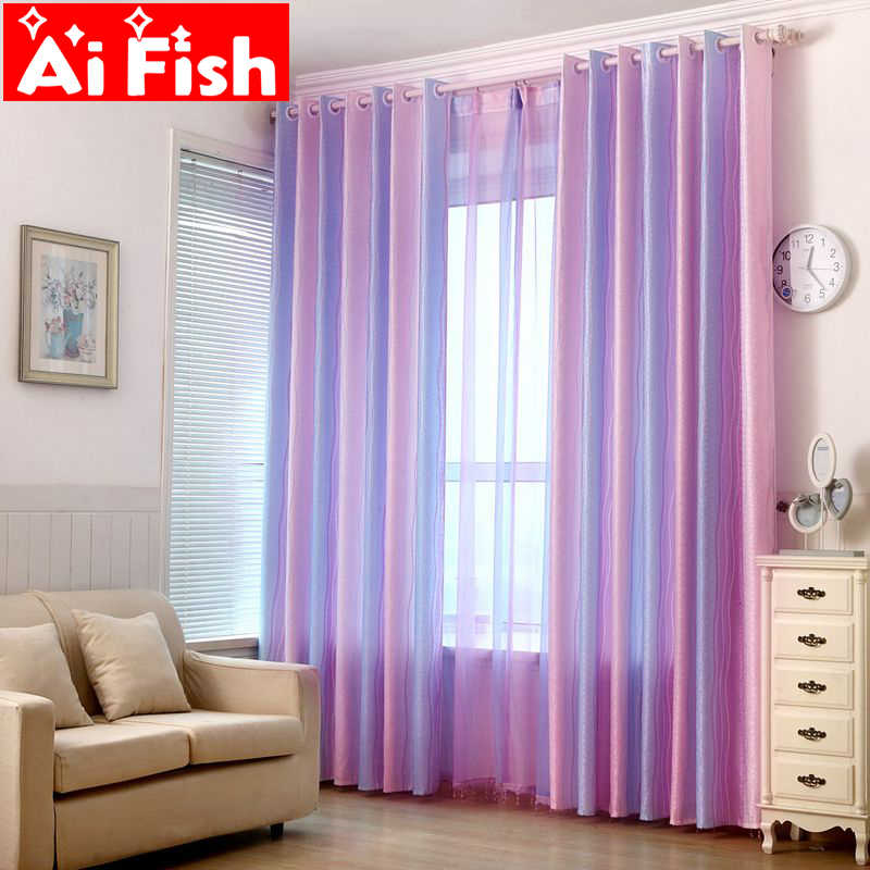 Colored Striped Curtains Kids Bedroom Modern Gradient Jacquard Window Sheer Tulle For Living Room Curtain Fabric wp149-30