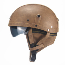 Motorcycle Motorbike Rider Half Open Face PU Leather Helmet Visor With Collar Leather vintage Motorcycle Motorbike Vespa(China)