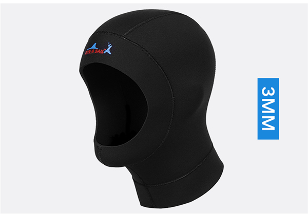 DIVE&SAIL 3mm neoprene diving cap snorkeling swimming hat hood neck cover winter swim keep warm scuba surfing face mask black013