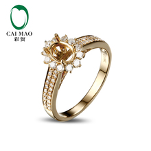 CaiMao Oval cut Semi Mount Ring Settings & 0.64ct Diamond 18k Yellow Gold Gemstone Engagement Ring Fine Jewelry(China)