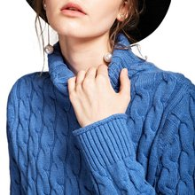 2017 Starting Women Wool Cashmere Turtleneck Allover Cable Knit Pullover Sweaters Thick Flexible Twist Soft Relaxed Fitting Hot(China)