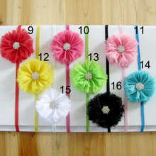2014 Hot children headdress baby flower headband rhinestones chiffon thin elastic headband with 0.6CM 100pcs/lot(China)