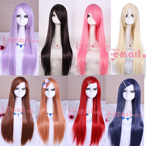 Free Shipping 80cm Japan Anime Sarutobi Iris Synthetic Hair Purple Pink Red Bue Brown Long Straight Cosplay Wig<br><br>Aliexpress