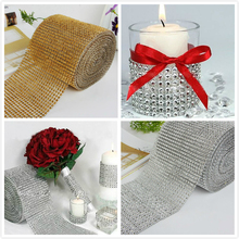 Wedding Decor Gold Silver Diamond Mesh 1 yards Party Decorations Trim Wrap Roll Sparkle Rhinestone Crystal Bling Cake Ribbon(China)