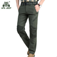 AFS JEEP 2017 Men's winter warm fleece army green straight pants man casual brand quick dry gray pant windproof black trousers(China)