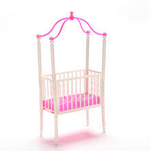 2016 New Cute Bed Accessories For Barbie Pink Plastic Doll Crib Mosquito Net Girl Gift