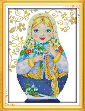 Russian doll (7)cotton DMC Cartoon cross stitch kit 14ct white 11ct print embroidery DIY handmade needlework set wall home decor