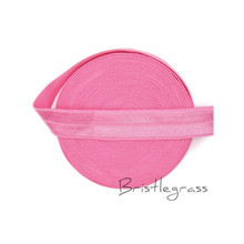 "BRISTLEGRASS 5 Yard 5/8"" 1.5cm Geranium Pink Solid FOE Foldover Elastic Spandex Satin Kid Hairband Headband Lace Trim DIY Sewing(China)"