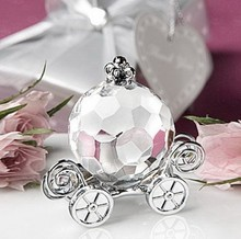 4*2*3.5cm  Clear Crystal Cinderella Pumpkin Coach Romantic Wedding Desk Decoration Party Favour Gift Souvenirs Baby Shower Gift