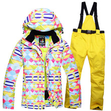 colorful Woman Cheap Snow Jackets Ladies Ski suit sets Female Snowboarding clothing outdoor sports Costumes Jacket + Bibs pant