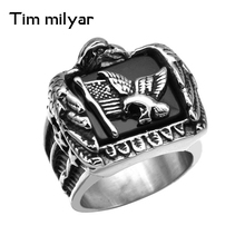 Wholesale Price Men 316L Stainless Steel Ring Biker Eagle Star American Flags Heavy Metal Punk Eagle Ring Jewelry