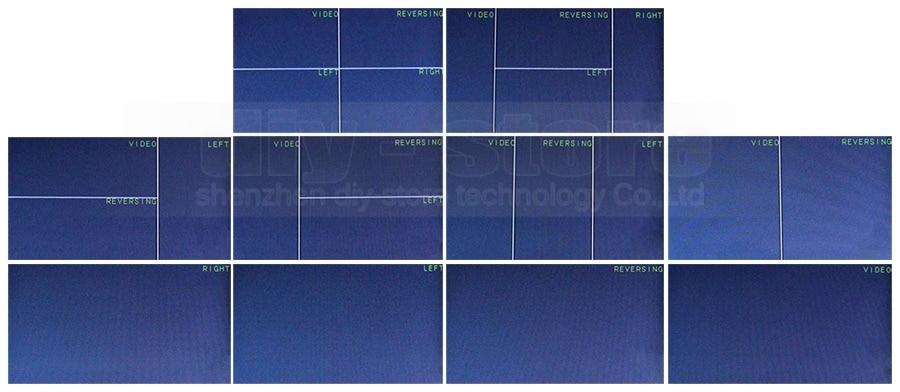 DIYKIT DC12V-24V 10 Inch 4 Split Quad LCD Screen Display Color Rear View Car Monitor for Car Truck Bus Reversing Camera