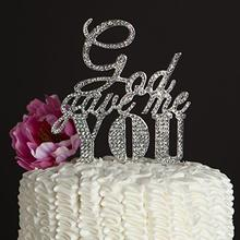 God Gave Me You Persoanlzied Wedding Rhinestone Cake Topper Rustic Acrylic Cake Toppers Christian Bridal  Shower party decor