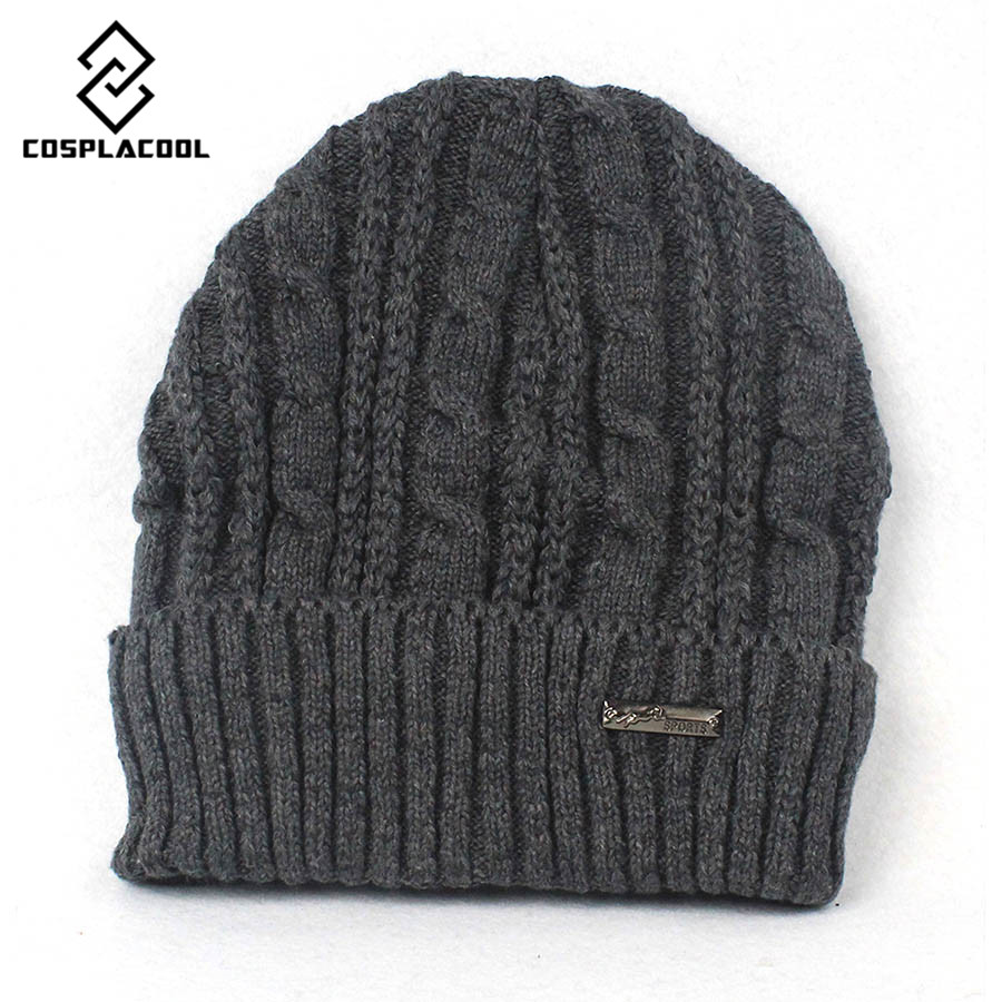 COSPLACOOL 2016 Winter Hat Knitted Mens Winter Cap Women skullies beanies Casual Solid Thick Warm Plus Velvet Beanie CapÎäåæäà è àêñåññóàðû<br><br><br>Aliexpress