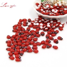 1Pack=100PCS Mini Red Wooden Ladybug Sponge Self-adhesive Stickers Cute Baby Fridge Magnets For Scrapbooking Home Decoration(China)