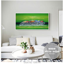 Oil painting canvas Abstract home decor modern art painting hand painted Wall picture Green color Bicycle Race abstract art