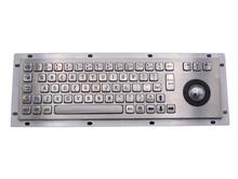 Stainless Steel Industrial Keyboard With Trackball 36mm Conductive Rubber Ruggedized Panel Mount Keypad For Information Kiosk(China)