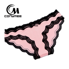 [CONYMEE] Women Sexy Panties 4pcs/lot New Cotton Underwear Briefs Ladies Lace Calcinha Cute Girls Intimates Sexy Lingerie Panty(China)