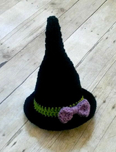 Free shipping Crochet Baby Witch Hat Halloween Infant Newborn Photography Photo Prop Handmade Baby Shower Gift(China)