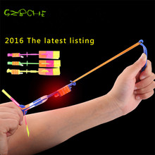 5PC Shining Rocket Flash Copter Arrow Helicopter Neon Led Light Amazing Elastic Powered LED Flash Rotating Flying Arrow Toy