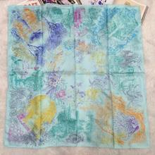 Fashion Print 100% Silk Twill Scarf Shawl Wraps Women's Square Silk Scarves 90x90cm Charming Clothing Accessory