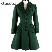 Clocolor women Overcoat Autumn Winter Coat Female Turn Down Collar A Line single Breasted stylish trench coat  Green Coat Female