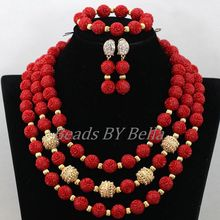 New Design Nigerian Wedding Necklace High Quality Jewellery Set Red African Coral Beads Bridal Jewelry Sets Free Shipping ABK346