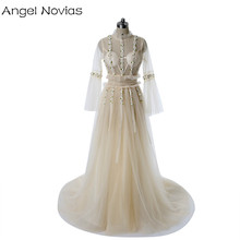 Angel Novias Long Sleeve Boho Wedding Dresses 2018 Sheer Champagne Bohemian Style Bridal Gown Vestido De Novia Vintage(China)