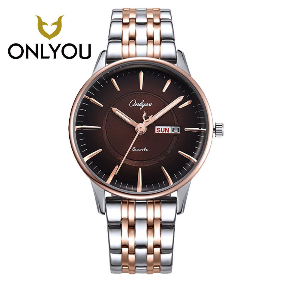 ONLYOU Watch Women Leisure Fashion Lover Watch Week Display Wristwatch Men Waterproof Quartz Watches Relojes mujer Men Male<br>