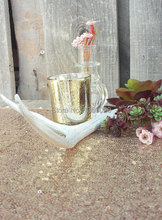 2.55 Inch Tall Glass Mercury Wedding and Party Votive Candle Holder ,Gold Colo,silver color