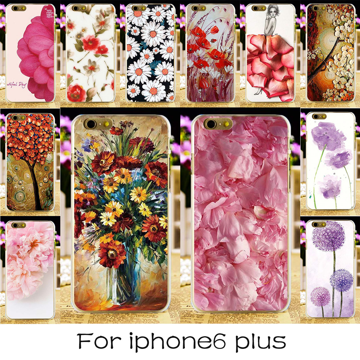 Painted Soft TPU & Hard Plastic Phone Cases For Apple iPhone 6 Plus iPhone6 Plus 5.5 inch Case Beautiful Flowers Back Covers Bag(China)
