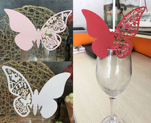 50pcs Beautiful Butterfly Place Escort Wine Glass Cup Paper Card for Wedding Party Home Decorations White Blue Pink Name Cards