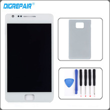"4.3"" White For Samsung Galaxy S2 i9100 LCD Display Monitor Touch Screen Digitizer with Frame Assembly Parts Battery Cover Tool(China)"