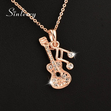 SINLEERY 2016 New Musical Note Guitar Pendant Necklace  Xl268 Rose Gold Color Brand Jewelry Free Shipping