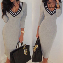 SHIBEVER Women Dress Fashion Sexy Dress Party & Club V-neck Long Sleeve Solid Knit Dress Hot Sale Women Female Dress aCD1161