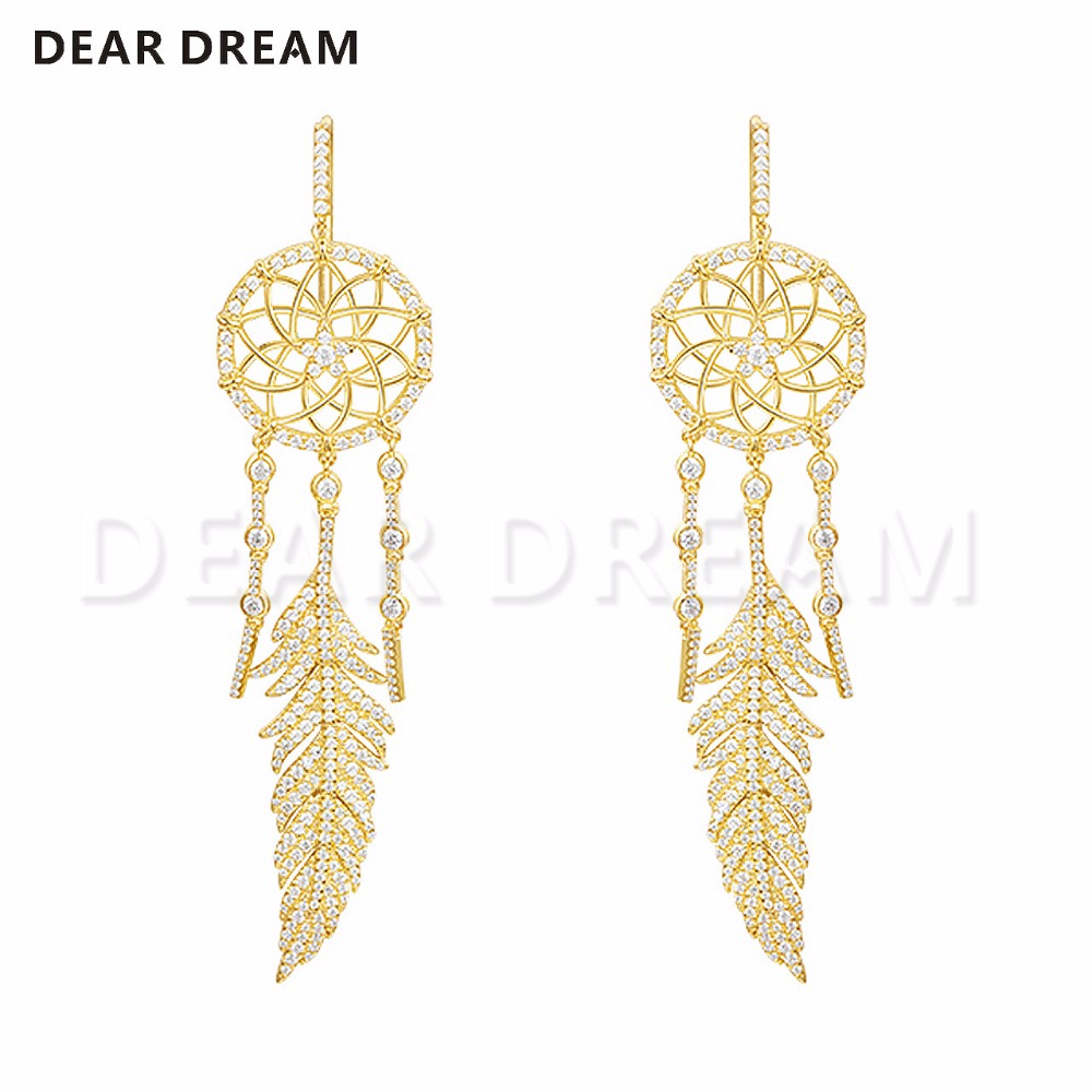 Gold and Yellow Catching Indian Dreamer Symmetrical Earrings 925 Sterling Silver High Quality For Gift